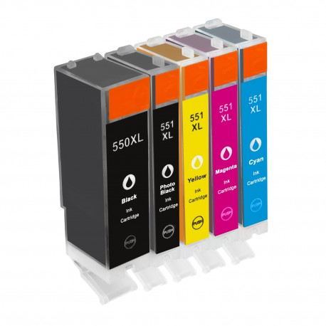 PGI-550 / CLI-551 pack 5 cartouches - adaptable